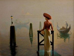 La Dame de Venise .Tableau de l'artiste peintre Algerien Hocine Ziani.